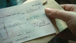 Maddy finds the cheque for £65,000 Jonathan has left for the shelter