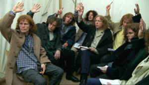 The Jonathan Creek fan club all raise their hands so they can ask a question