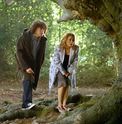 A publicity shot from Gorgon's Wood, Jonathan and Carla in the forest